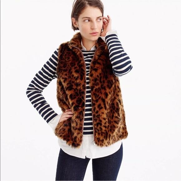 J. Crew Jackets & Blazers - JCrew leopard print faux fur vest Medium EUC